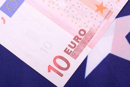 european money on american flag photo