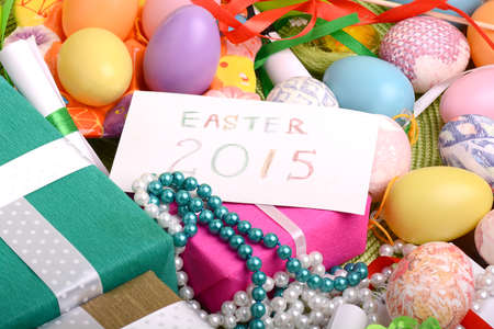 Easter setting with gift box and spring decoration photo