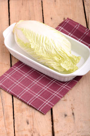 savoy cabbage: Cabbage chopped in glass bowl