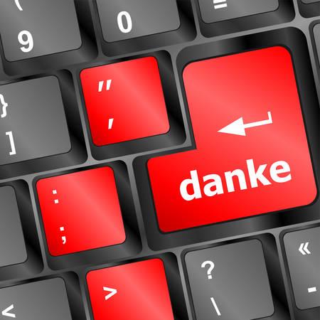key words art: a thank you (danke) message on enter key of keyboard