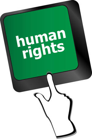 human rights: arrow button with human rights word on itvector