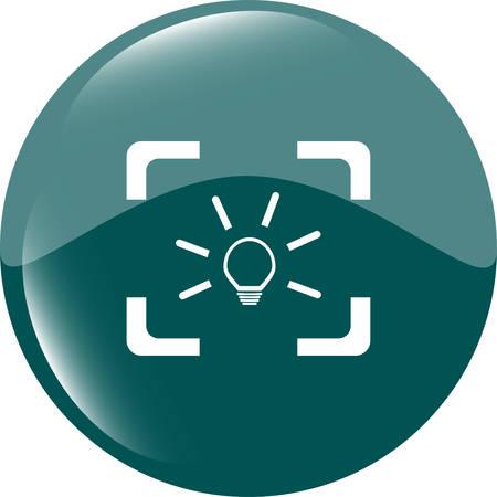 Light lamp sign icon. Idea symbol. Light is on. Web button Illustration