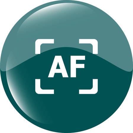 autofocus: Autofocus photo camera sign icon. AF Settings symbol Illustration