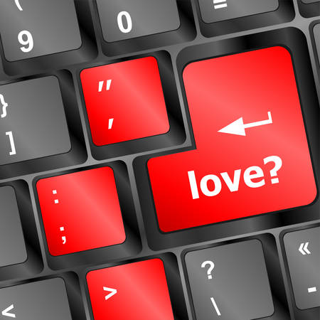 keyboard keys: love with question sign button word on keyboard keys Illustration