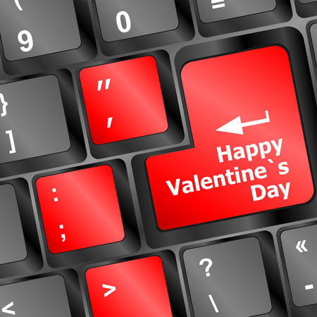 valentine s day: happy valentine s day button on the keyboard - holiday concept