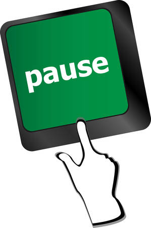 Computer keyboard with pause key - business concept Vector