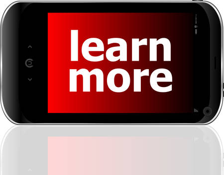 psp: smart phone with learn more word, business conceptvector Illustration