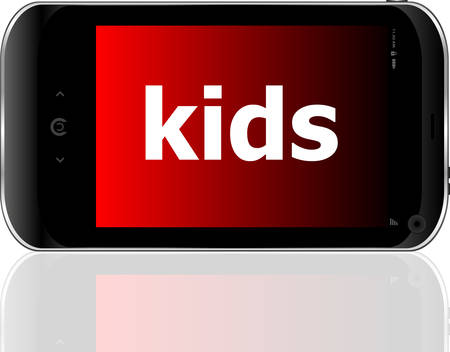 psp: smart phone with kids word, social conceptvector