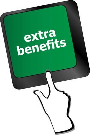 extra cash: extra benefits button on keyboard - business conceptvector Illustration