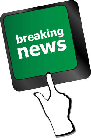 breaking news button on computer keyboard pc keyvector