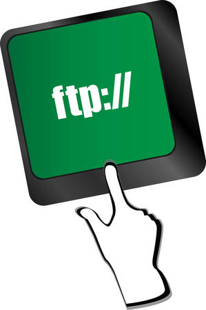 ftp: Computer keyboard with ftp key, technology backgroundvector Illustration