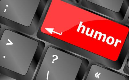 humor: Computer keyboard with humor key - social conceptvector Illustration