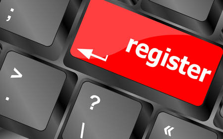 voter registration: Closeup of register key in a modern keyboardvector