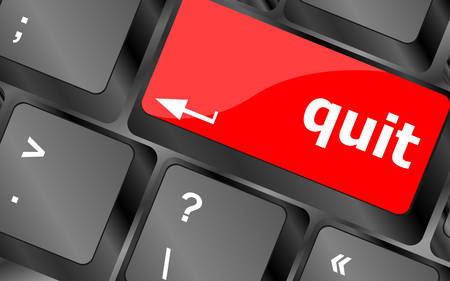 quit button on black internet computer keyboardvector
