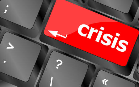 budgetary: crisis risk management key showing business insurance conceptvector