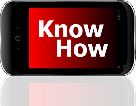 psp: smart phone with know how wordvector Illustration