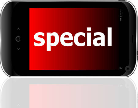 android tablet: smart phone with special word, business conceptvector