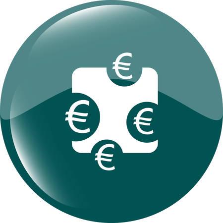 eur: web sign icon. Euro eur symbol. Modern UI website button  Illustration