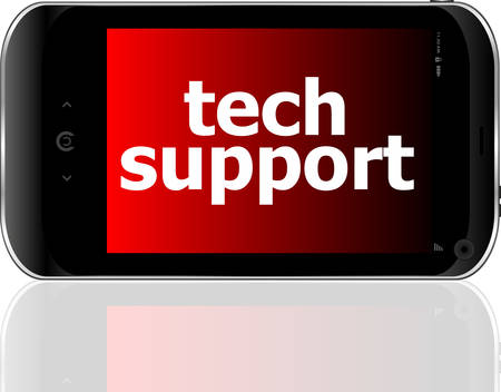 psp: digital smartphone with tech support words, business concept