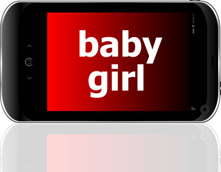 psp: digital smartphone with baby girl words, social concept
