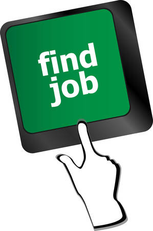 jobless: Searching for job on the internet. Jobs button on computer keyboard