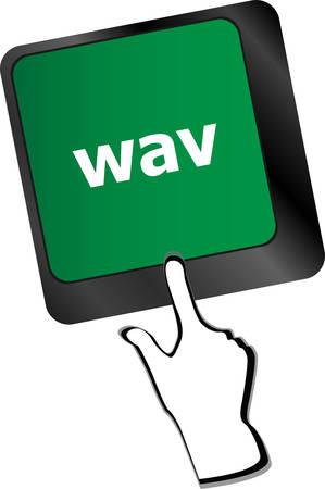 wav: wav word on keyboard keys button Illustration