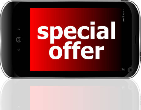 smartphone business: digital smartphone with special offer words, business concept  Illustration