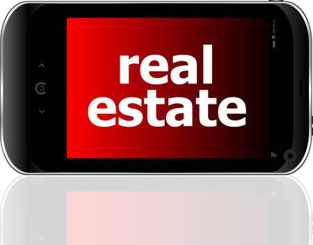 psp: digital smartphone with real estate words, business concept Illustration