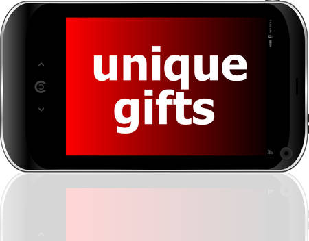 psp: digital smartphone with unique gifts words, holiday concept