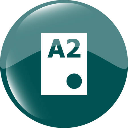 a2: Paper size A2 standard icon. File document symbol. Metro style buttons Illustration