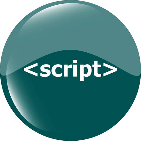 hypertext: script sign icon. Programming language symbol. Circles buttons