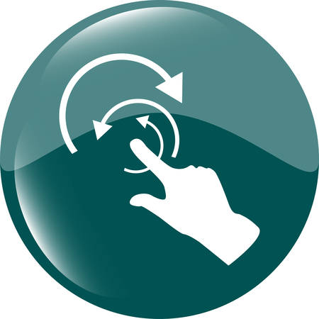 help section: hand and abstract arrow web app button, web icon