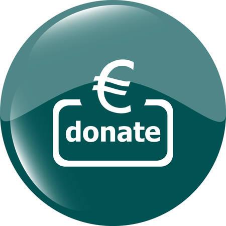 shiny button: Donate sign icon. Euro eur symbol. Green shiny button. Modern UI website button