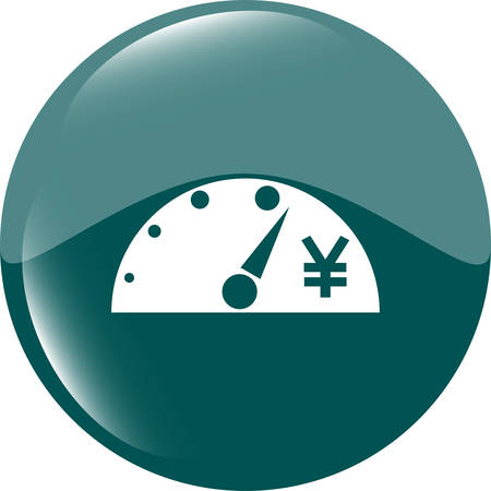 indicator board: tachometer web icon button with yen sign, isolated on white