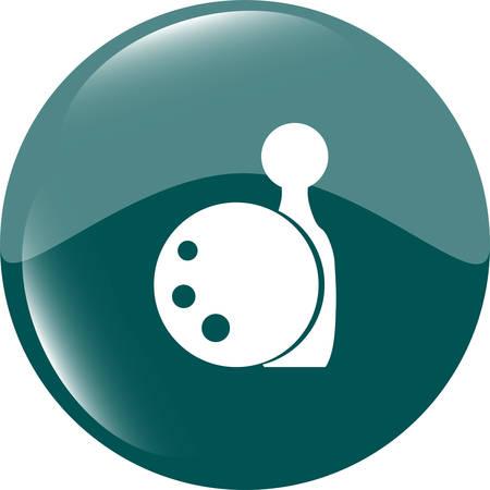 kegelen: Bowling spel teken icoon. Ball met pin skittle symbool