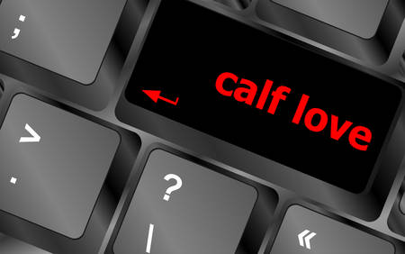office romance: calf love words showing romance and love on keyboard keys