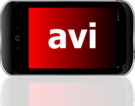 avi: Web development concept: smartphone with word avi on display