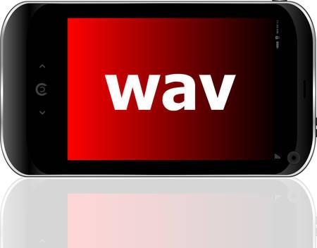 wav: Web development concept: smartphone with word wav on display