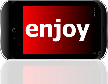 enjoy: Web development concept: smartphone with word enjoy on display