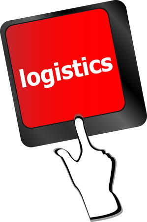 intro: logistics words on laptop keyboard, business concept vector