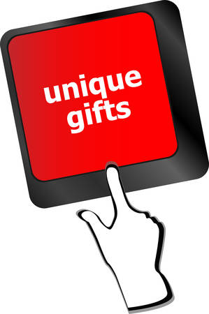 keyboard keys: unique gifts, events button on the keyboard keys - holiday concept vector