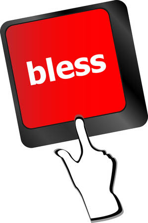 bless: bless text on computer keyboard key - business concept vector