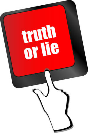 lie: truth or lie button on computer keyboard key vector Illustration