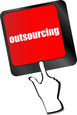 outsourcing: outsourcing button on computer keyboard key vector
