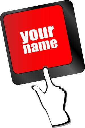 surfing the net: your name button on keyboard - social concept vector