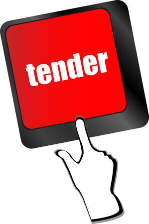 tender: Button on Modern Computer Keyboard with Word tender, business concept vector