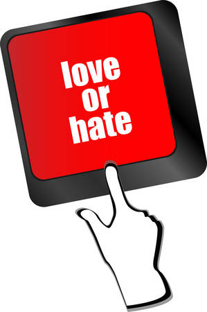 hate: love or hate relationships communication impressions ratings reviews computer keyboard key, vector Illustration