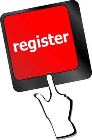 voter registration: Closeup of register key in a modern keyboard vector