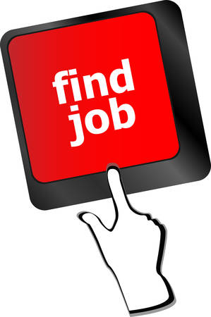 employment issues: Searching for job on the internet. Jobs button on computer keyboard vector Illustration