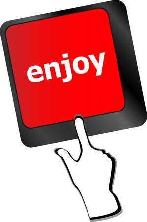 keyboard key: enjoy word on keyboard key, notebook computer button vector